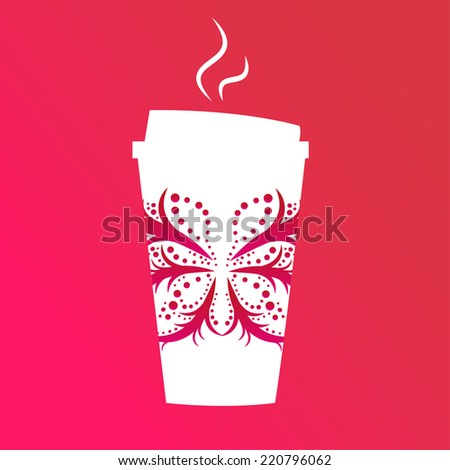 seamless  colorful bright coffee glass illustration - stock photo