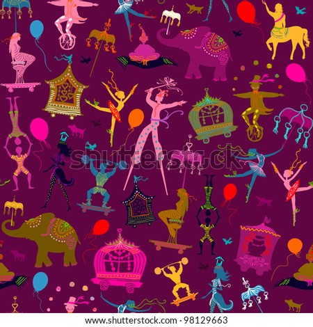 seamless - colorful circus with magician, elephant, dancer, acrobat and various characters