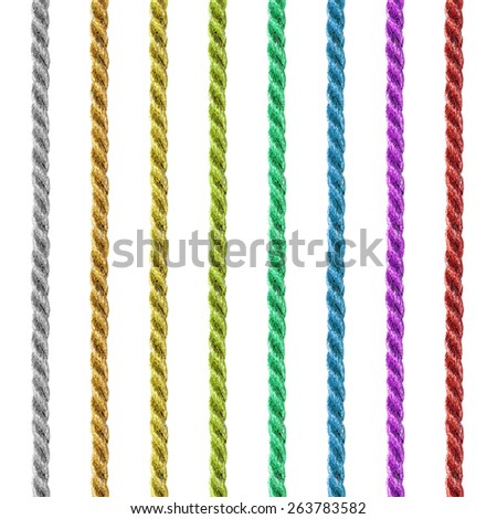 Seamless colorful cord set isolated on white. - stock photo