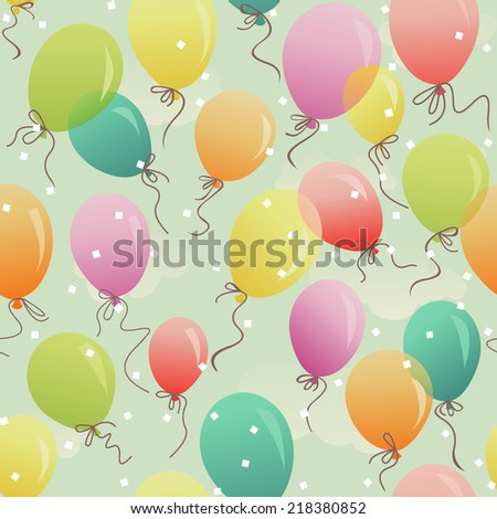 seamless - colorful festive balloons in the sky - stock photo