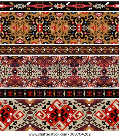 Seamless colorful pattern in aztec style - stock photo