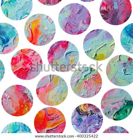 Seamless colorful planets dots pattern. Abstract painting  - stock photo