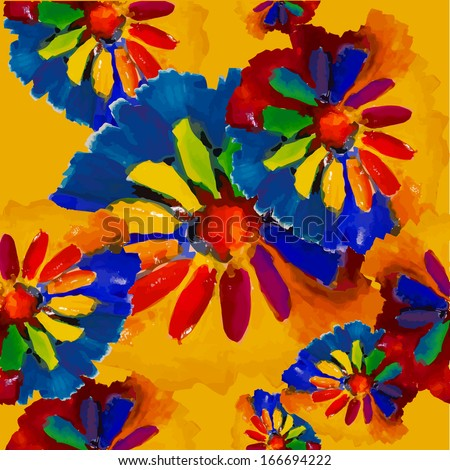 seamless colorful rainbow watercolor flower background. Raster - stock photo