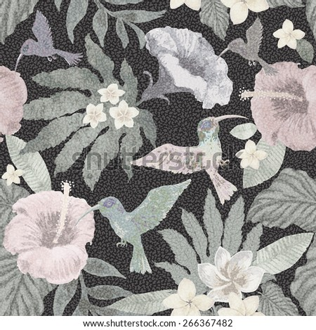 Seamless colorless floral pattern from hand drawn watercolor hibiscus flowers, exotic small birds and fantasy tropical foliage on dark spotty background - stock photo