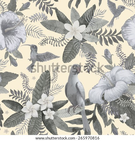 Seamless colorless floral pattern from hand drawn watercolor hibiscus flowers, Indian parrot, exotic small birds and fantasy tropical foliage at the light beige background - stock photo
