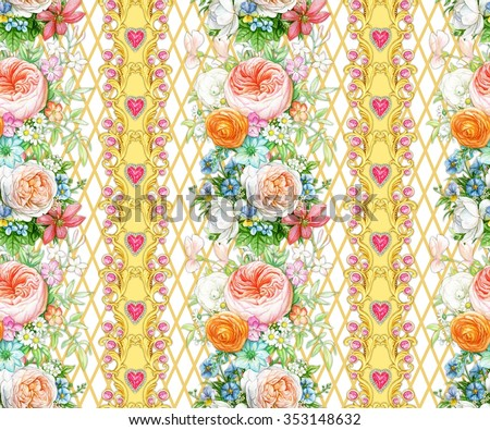 Seamless composition with garlands of flowers and hearts on white background - stock photo