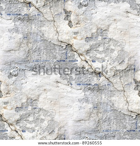 seamless concrete texture of old stone wall with a crack - stock photo