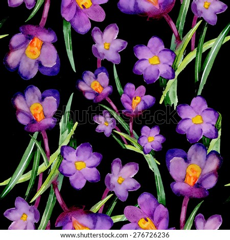 Seamless crocus floral pattern on black background with summer garden flowers, watercolor illustration - stock photo