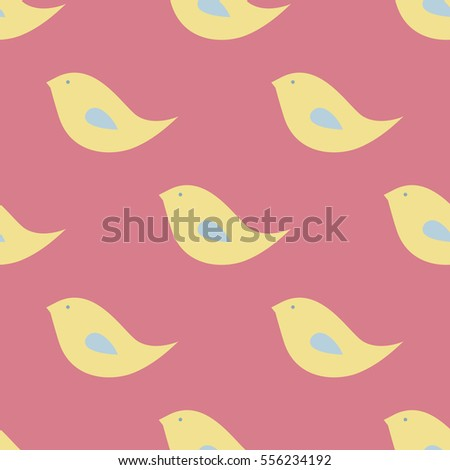 Seamless Cute Childish Pattern Bright Pastel Colors Kids Wallpaper Spring Birds