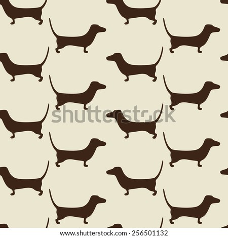Seamless dachshund background with repeating cute brown dachshund silhouettes staying opposite one another isolated on beige background. Holiday decor, textile, wrapping paper, wallpaper, gift boxes - stock photo