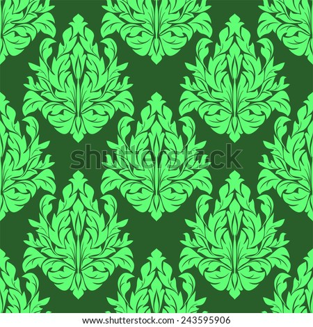 Seamless damask floral Pattern in green colors. Raster version. - stock photo