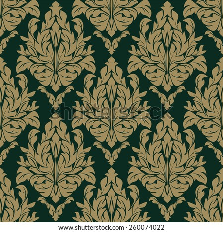 Seamless damask floral Pattern on the dark Background. Raster version. - stock photo