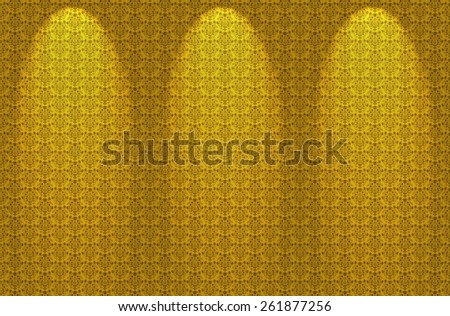 Seamless Damask Floral Wallpaper Pattern in Yellow with spotlights - stock photo