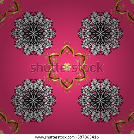 Seamless damask pattern background for wallpaper design in the style of Baroque. Golden pattern on pink background with golden elements. Ornate decoration.