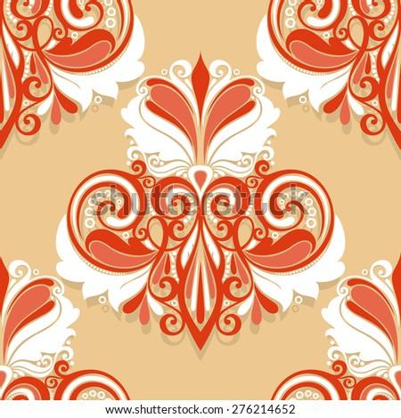 Seamless Damask Pattern. Hand Drawn Vintage Texture - stock photo