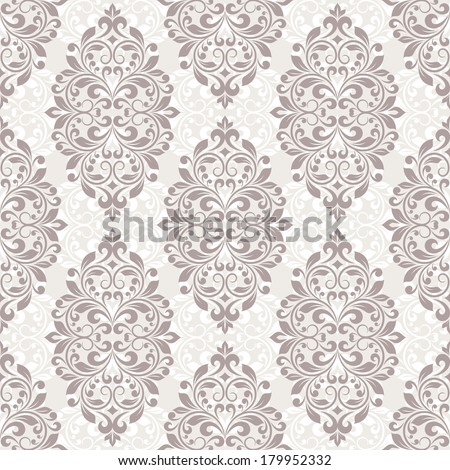 Seamless damask pattern. Raster version of vector. - stock photo