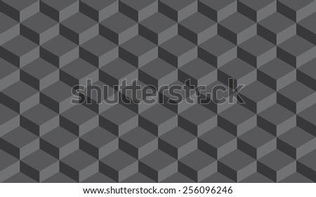 Seamless dark gray isometric flattened cubes optical illusion pattern - stock photo