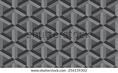Seamless dark gray retro op art hex construction optical illusion pattern - stock photo
