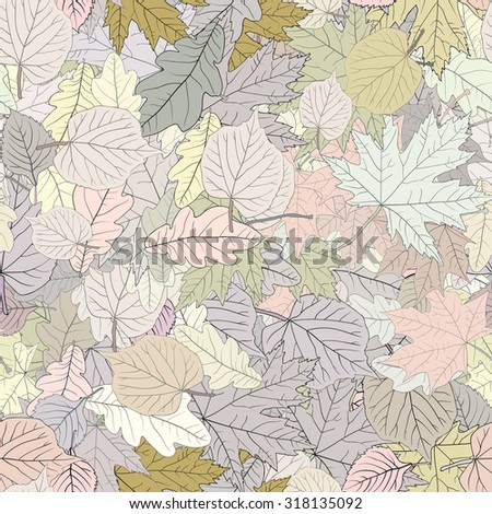 Seamless decorative template texture with green and beige leaves. Seamless stylized leaf pattern. Raster 3 - stock photo
