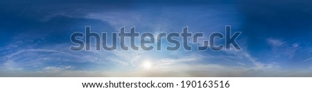 "seamless 360 degree ""sky dome"" panorama of feather clouds in mercator projection  - stock photo"