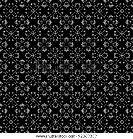 Seamless Delicate White Floral Kaleidoscope Design on Black Background - stock photo