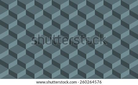 Seamless denim blue isometric flattened cubes optical illusion pattern - stock photo