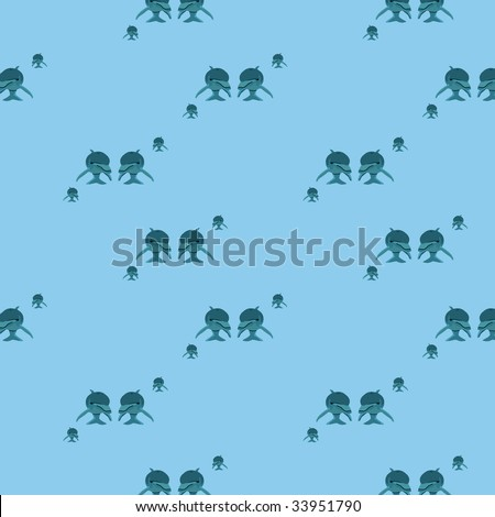 seamless dolphin pattern mono tone colored in blue - stock photo