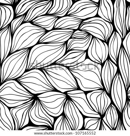 Seamless doodle abstract waves pattern. Raster.