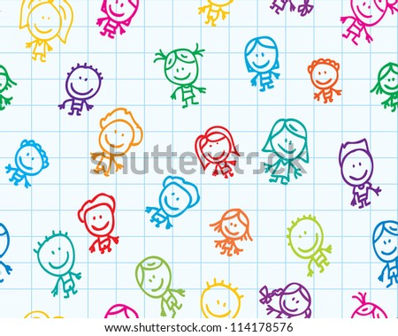 Seamless doodle background of happy children on school paper texture - stock photo