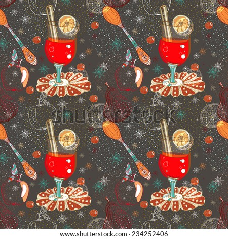 Seamless doodle background with mulled warm wine for design, Christmas traditional drink - stock photo