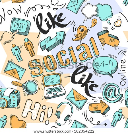 Seamless doodle social media pattern background  illustration - stock photo