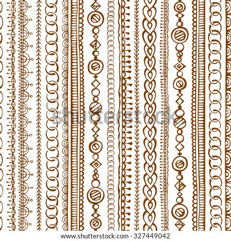 Seamless doodles ethnic pattern. Hand-drawn boundless texture can be used for web page backgrounds, wallpapers, wrapping papers, invitations and congratulations. - stock photo