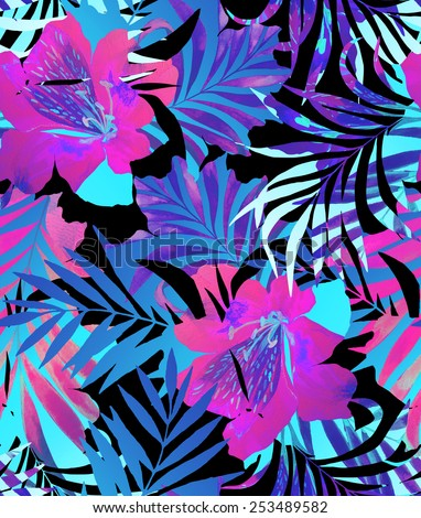 seamless double exposure floral pattern. tropical floral motifs in abstract and trendy layout. summer fashion look, black background. - stock photo