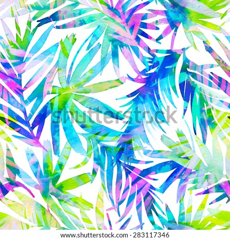 seamless double exposure tropical pattern. exotic palm leaved in artistic allover illustration, with overlapping floral silhouettes. trendy textile design. watercolor drawing. - stock photo