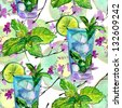 seamless drink pattern with flowers, kiwi, glass and lime - stock vector