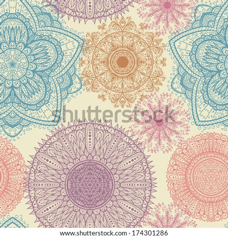 Seamless elegant vintage pattern with hand drawn flowers. Raster version - stock photo