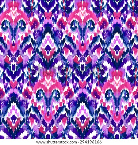 seamless ethnic ikat pattern in shades of pink and purple. folk textile design. - stock photo