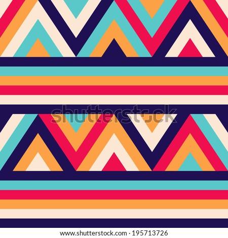 Seamless ethnic zigzag pattern background - stock photo