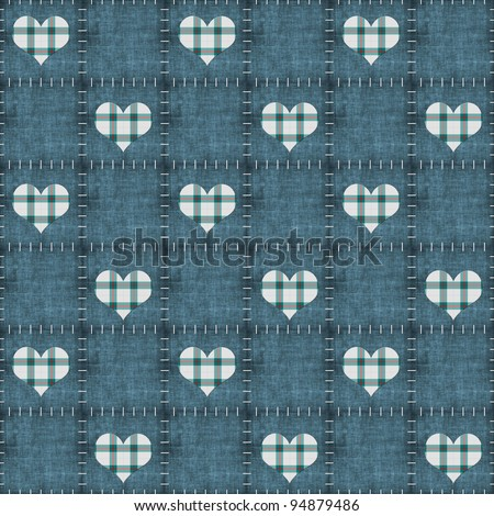 Seamless Faded Denim & Teal Plaid Hearts Background Wallpaper - stock photo