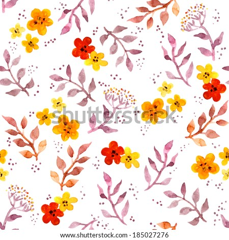 Seamless fantasy floral background with cute flowers. Watercolor painted primitive art - stock photo