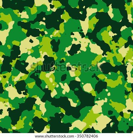 Seamless fashion vivid green camouflage pattern - stock photo