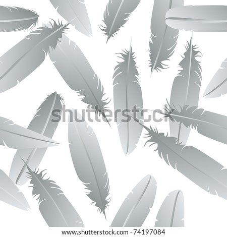 Seamless feathers pattern over white background - stock photo