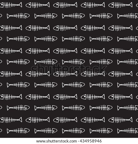 seamless fish skeleton sketch pattern on black background