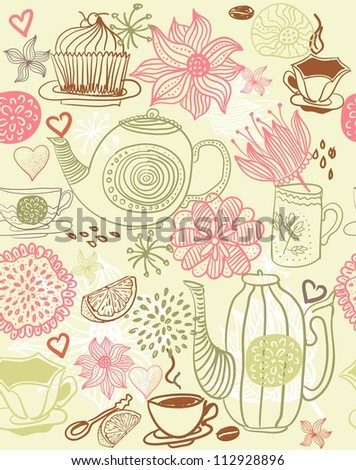 seamless floral background with cups and teapots