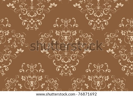 Seamless floral damask style wallpaper background - stock photo