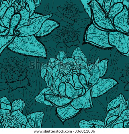 Seamless floral grunge pattern with plants and flowers - stock photo