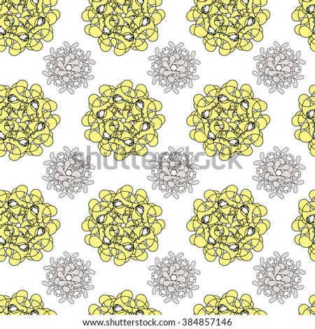 Seamless floral pattern background yellow and gray - stock photo