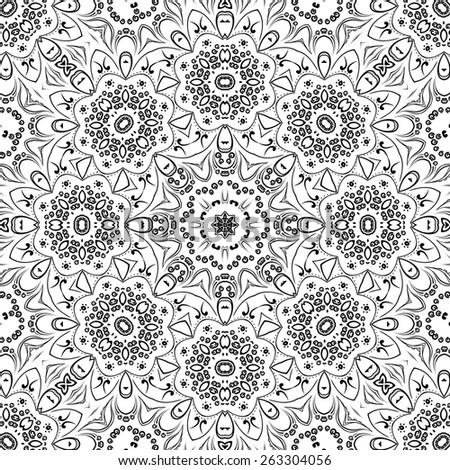 Seamless Floral Pattern, Black Symbolical Contours Isolated on White Background.  - stock photo