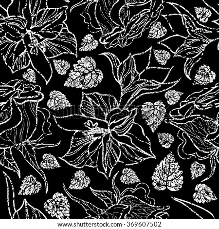 Seamless floral pattern, freehand drawing - flowers and leafs - stock photo