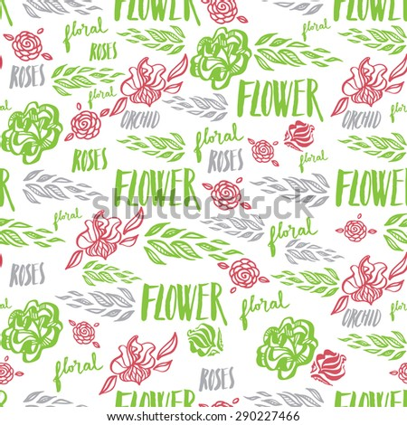 Seamless floral pattern, freehand drawing - flowers and leafs, calligraphy - stock photo